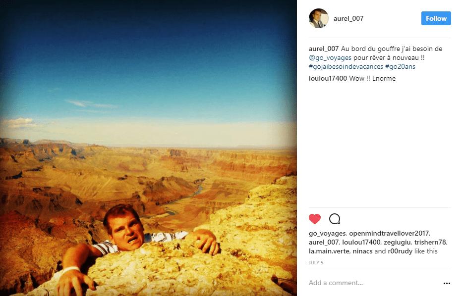 homme tombant canyon instagram - blog go voyages