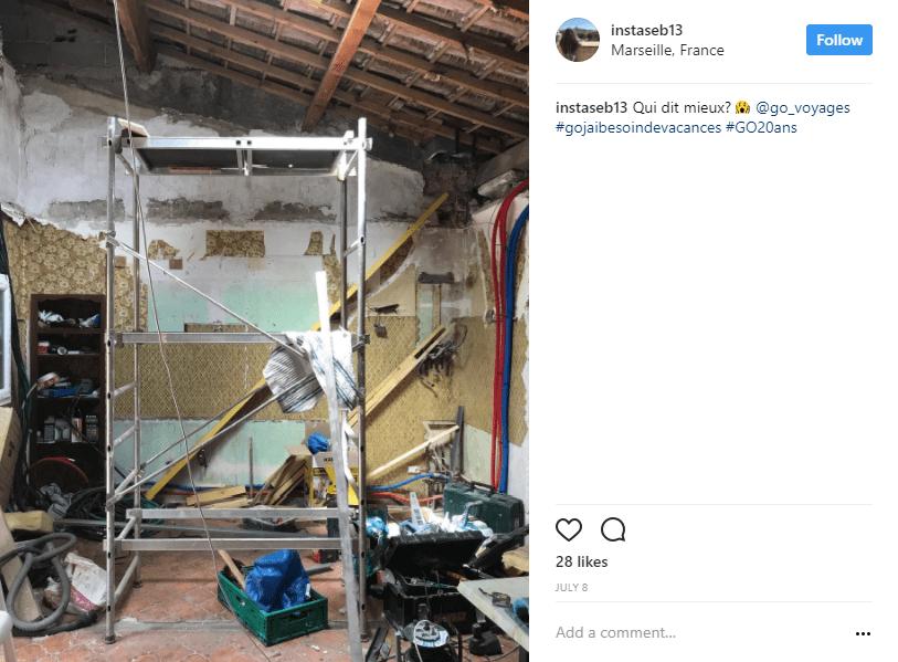 echaffaudage travaux interieur instagram - blog go voyages