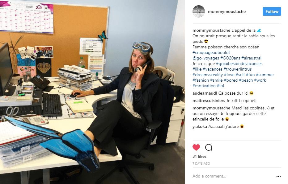 bureau femme palme masque instagram - blog go voyages