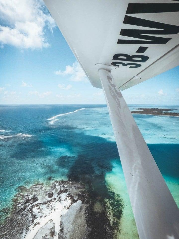 vue d'avion ocean indien ile maurice - blog go voyages