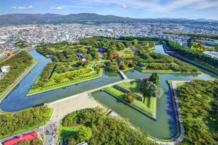 vue aerienne forteresse hakodate japon go voyages